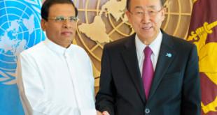 Secretary-General Ban Ki-moon (right) meets with H.E. Mr. Maithripala Sirisena, President of Sri Lanka.