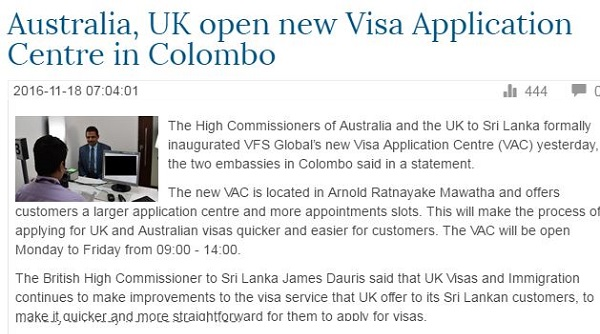 Australia and UK Open New Visa Rejection Centres In Colombo